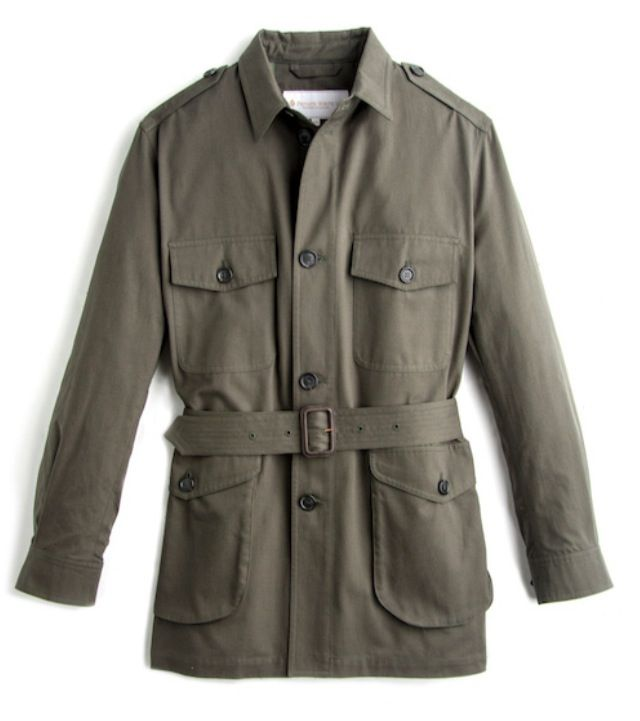 Olive cotton safari jacket