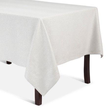 Threshold Metallic Chevron Tablecloth Medium White