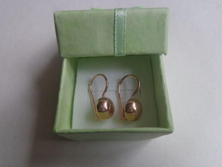 Vintage Soviet Solid Rose Gold Earrings 14K 583 Star Hammer 2.05 gr Russian USSR