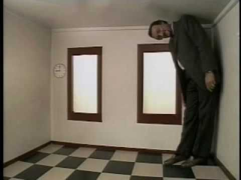 Illusions - Ames Illusion: An illusion by Adelbert Ames Jr. where two people standing in a room appear to be noticeably different sizes even though the two people are the same size.