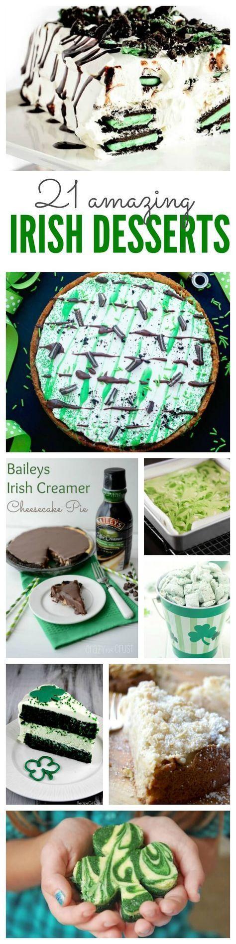 21 Amazing Irish Desserts! Homemade Recipe for St. Patrick's Day for Green Dessert Ideas!