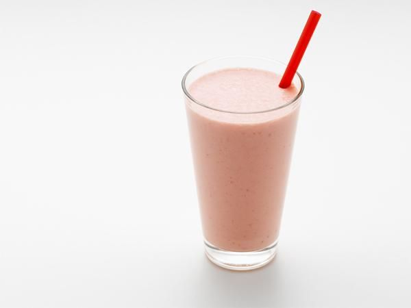 SERVINGS: 1  1 c plain nonfat yogurt 1 banana ½ c orange juice 6 frozen strawberries  COMBINE the yogurt, banana, juice, and strawberries for 20 seconds. Scrape down the sides and blend for an additional 15 seconds.  NUTRITION (per serving) 300 cal, 14 g pro, 63 g carb, 5 g fiber, 45 g sugars, 0.5 g fat, 0 g sat fat, 180 mg sodium
