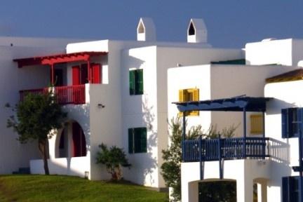The colourful houses at Club Mykonos in Langebaan, Western Cape