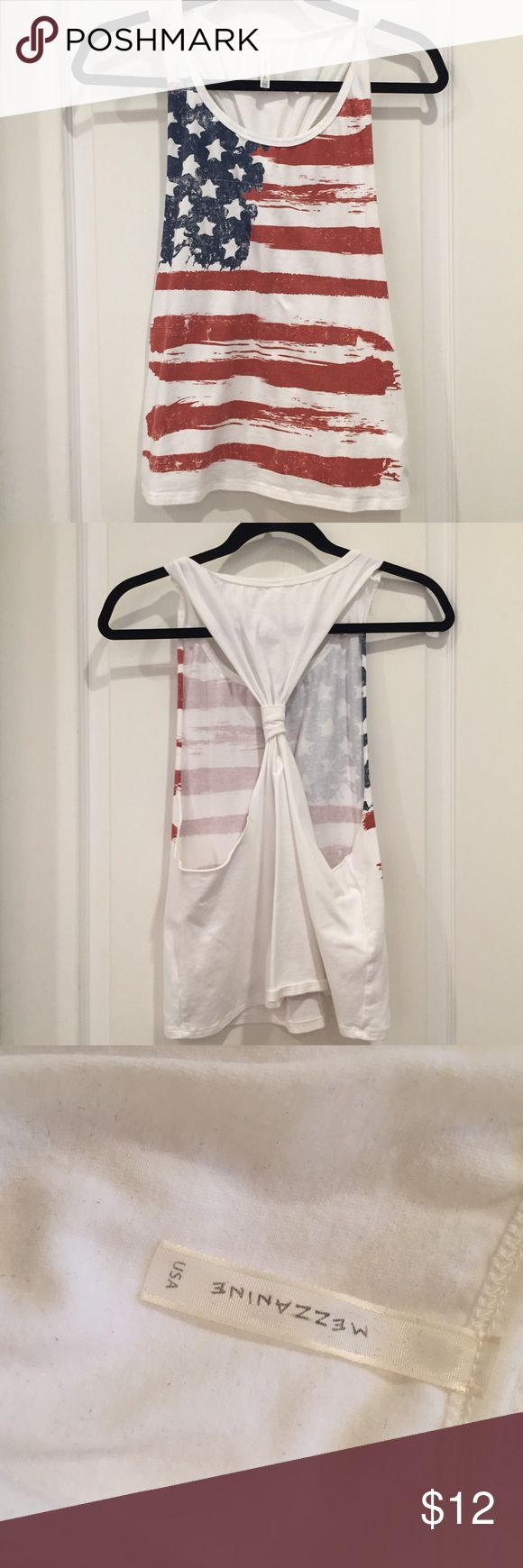American Flag Tank American flag tank. Knot in back. Size small. Tops Tank Tops
