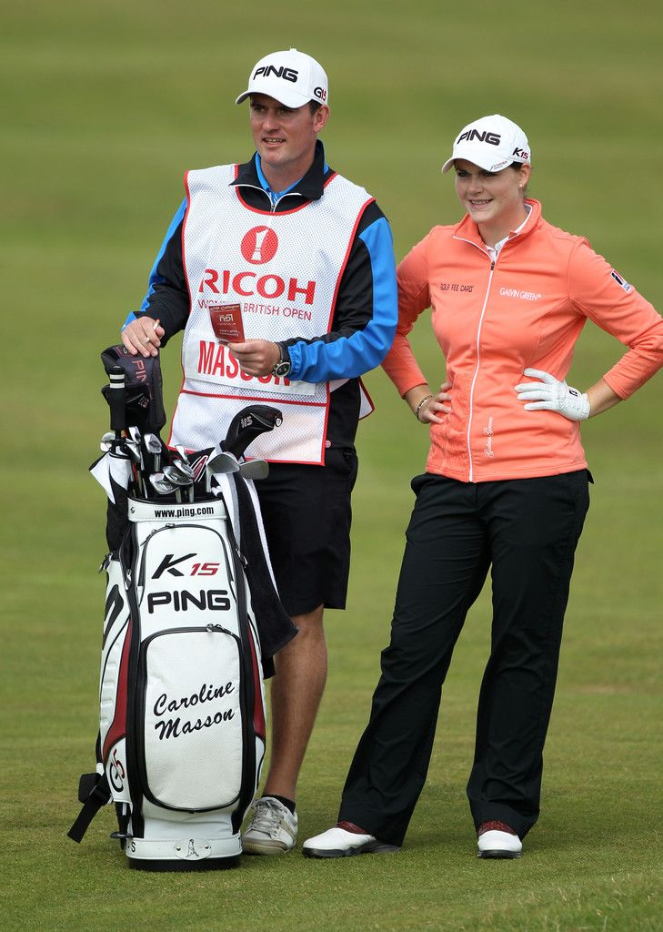 Caroline Masson Photos Photos - Caroline Masson of Germany lines up a shot with caddie Martin Ridley during the final round of the 2011 Ricoh Women's British Open at Carnoustie Golf Links on July 31, 2011 in Carnoustie, Scotland. - Ricoh Women's British Open - Day Four