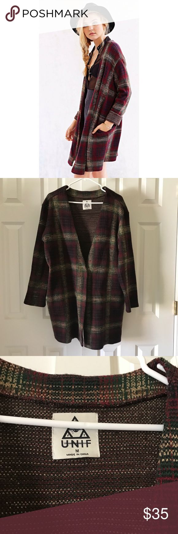 """NWOT UNIF plaid duster BRAND NEW MINT CONDITION. Size medium, and is super cute oversized on S-M sized ladies/gents. No trades, no """"lowest"""", no lowballing! Make an offer pls! UNIF Sweaters Cardigans"""
