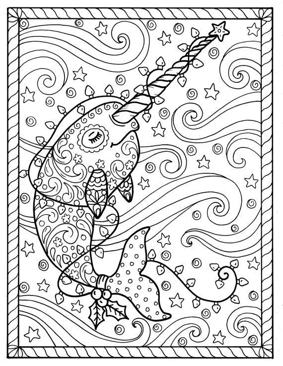 Narwhal Christmas Coloring pages Adult coloring books   Coloring ...