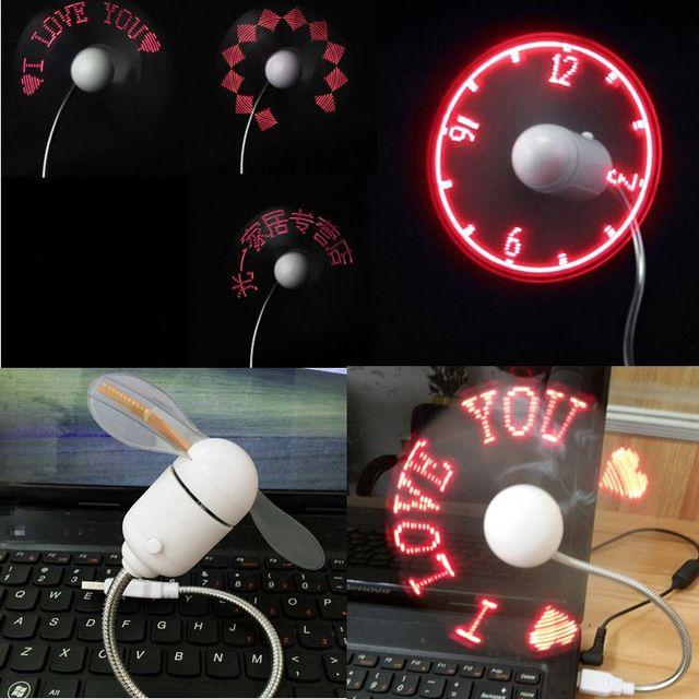 Diy gadget mini ventilatore del usb led luce flessibile programmabile led del dispositivo di raffreddamento fan programmazione tutti i caratteri parole messaggi di testo