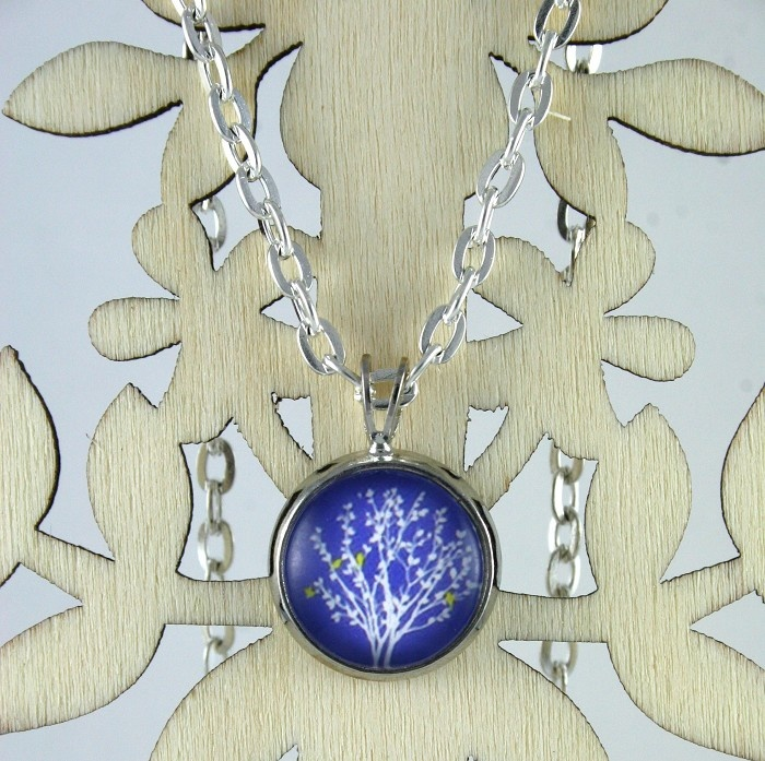 A Sweet White Tree on Blue Pendant