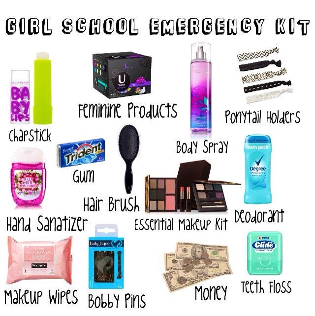 Everything A Girl Needs In Her School Emergency Kit Be Prepared For Any Diy Bag
