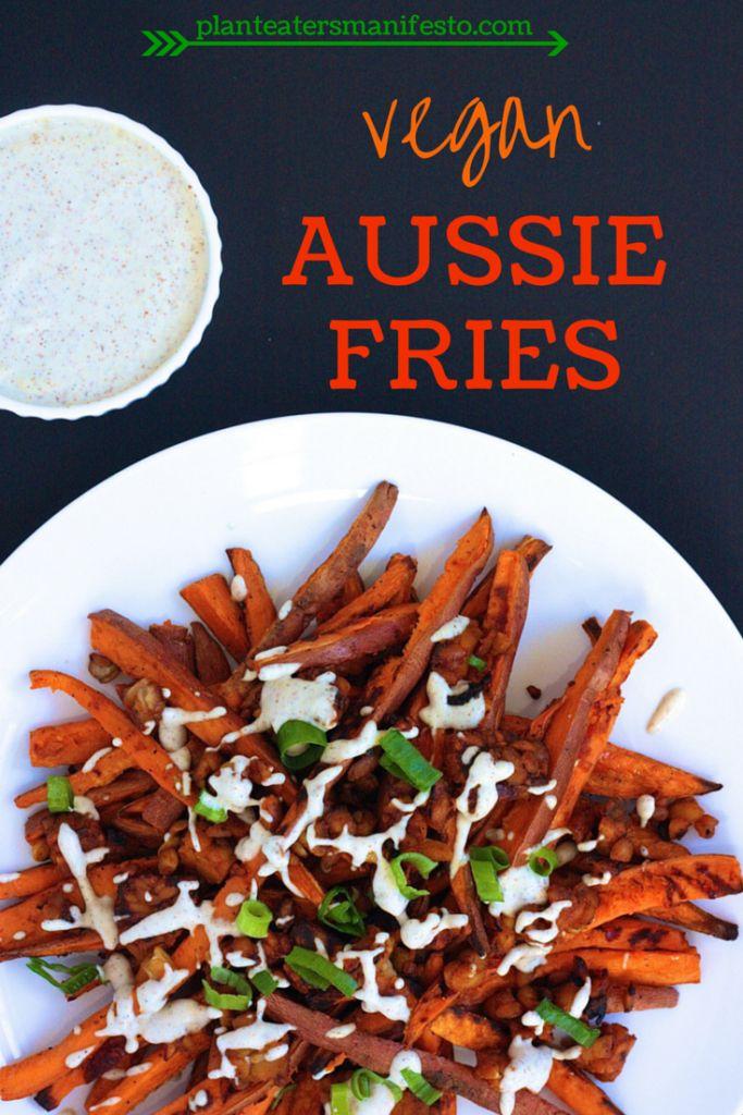 Vegan Aussie Fries with Tempeh Bacon and Cashew Garlic Aoli