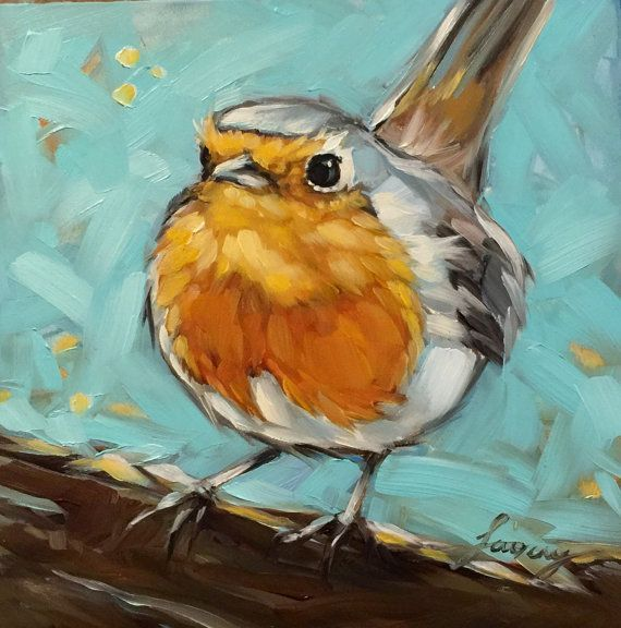 "Robin painting 6x6"" impressionistic original oil painting, Robin painting,  bird art, bird"