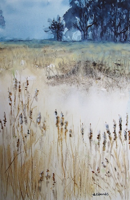 """I call this one """"Cattails"""".  I captured an early spring at the Rollins Savanah several weeks back and painted this watercolor."""
