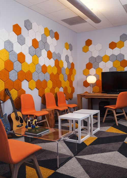 Janel Holiday Interior Design  sound proofing hexagon tiles by Baux Design  CONSTRUCTION
