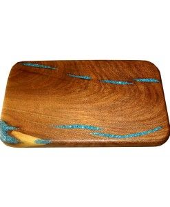 Mesquite wood cutting board with inlaid turquoise | Western & Rustic Decor and Furniture from RusticArtistry.com