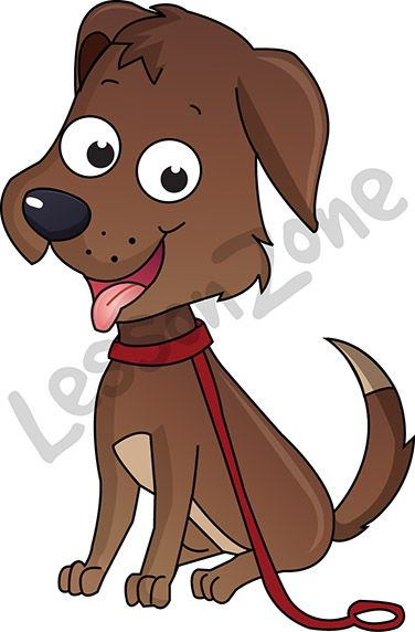 """This illustration, """"Dog on leash"""" is available in PNG format at 300 DPI resolution with a transparent background for classroom use. For your download, visit lessonzone.com.au"""