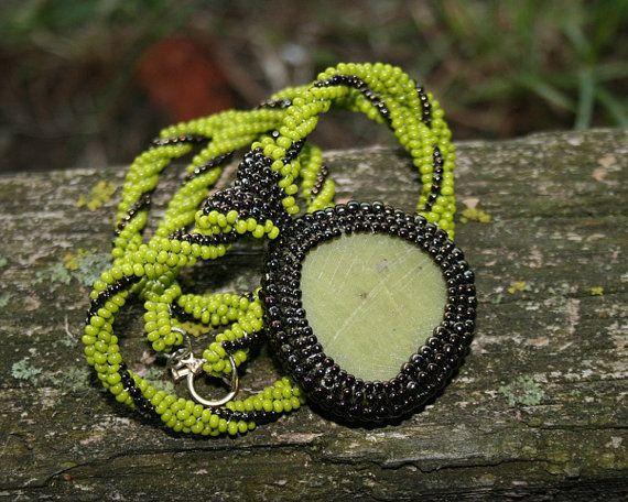 green jade brown woven pendant seed beads jewelry by koralikowyraj