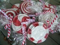painted paper plates! Christmas Bulletin Board Idea or put two plates together to hold cookies and other baked good gifts and wrap like candy!