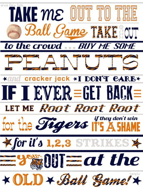 DETROIT TIGERS ABC Nursery Art print... by AreaFareKids on Etsy, $10.00