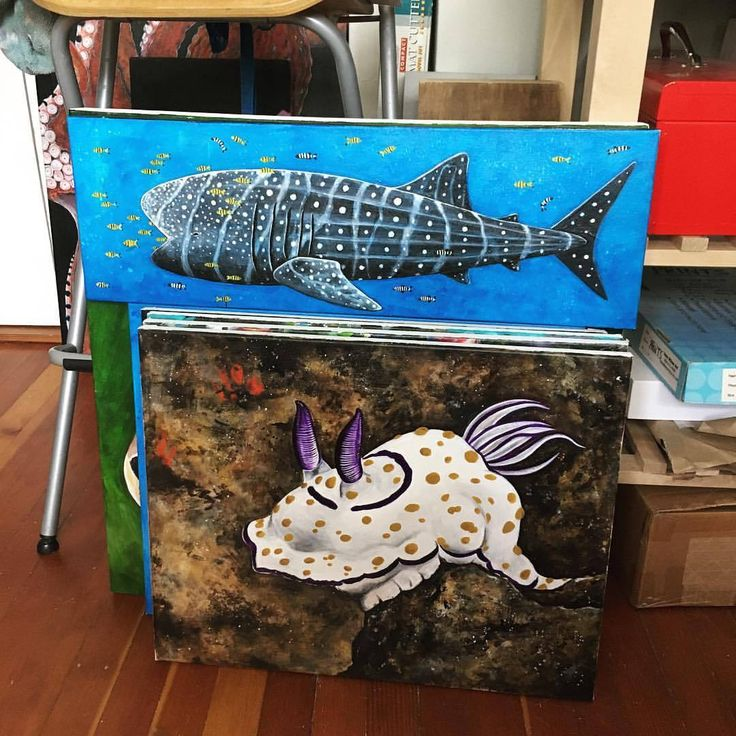 A couple of paintings #suzywilsonart #painting #ocean #whaleshark #nudibranch #underwater #marinebiology