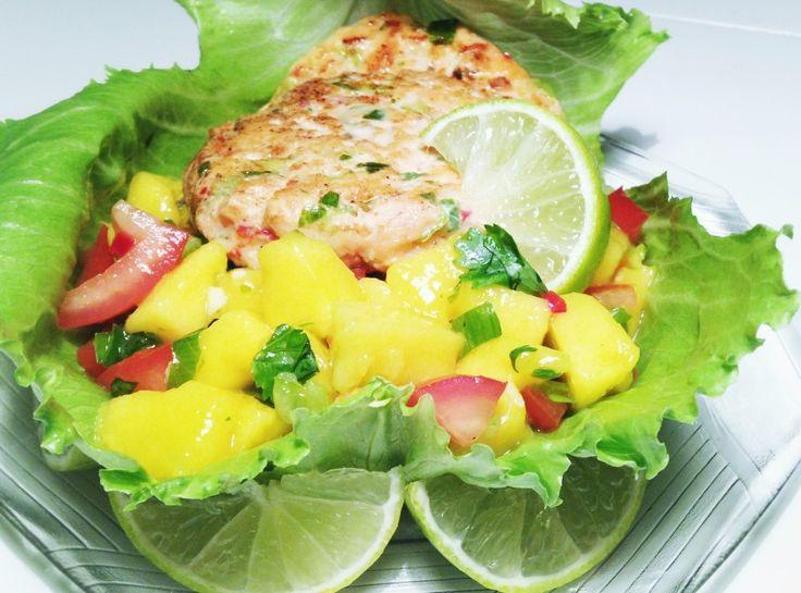 Salmon Burgers with Mango Salsa Verde