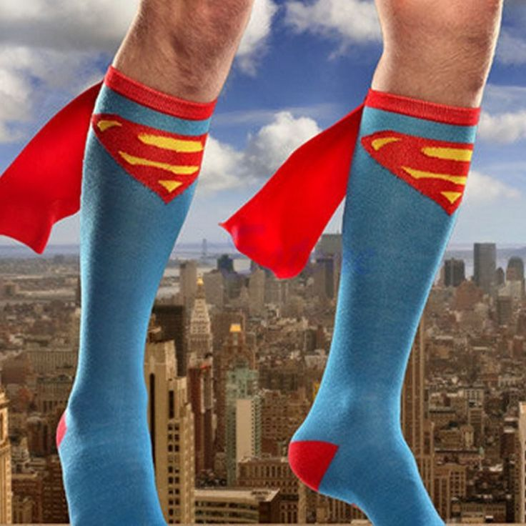 Super Hero Superman Batman Knee High With Cape Soccer Cotton Socks Cosplay Gift