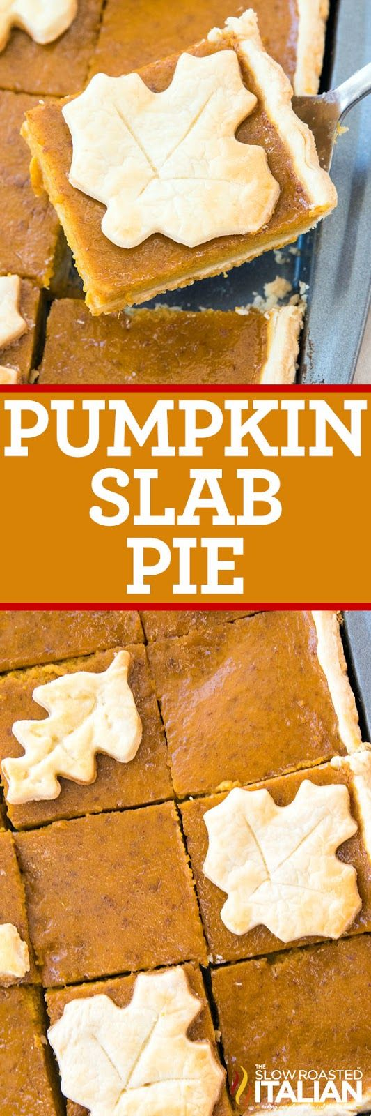 Pumpkin Slab Pie is the perfect fall dessert for a crowd! Creamy pumpkin pie on top of a buttery homemade crust, top it with whipped cream or serve a la mode!
