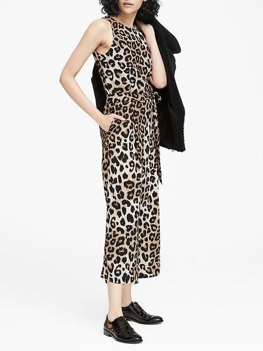 c053e2cb73b5 Banana Republic Womens Leopard Print Cropped Wide-Leg Jumpsuit Leopard Print