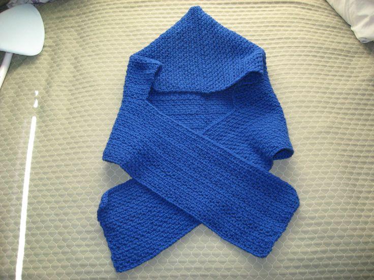 Crochet hooded scarf