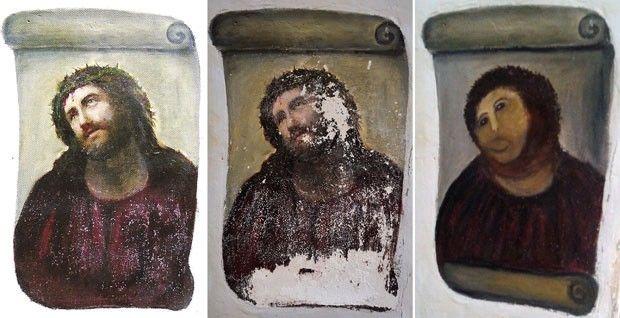 #EuRi - A partir da esquerda, a obra de Elías García Martínez original, deteriorada e depois da 'restauração'. (Foto: AFP)