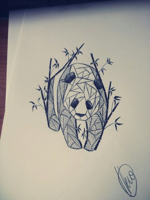 Geometric Panda Sketch #panda #pandatattoo #pandabamboo # ...