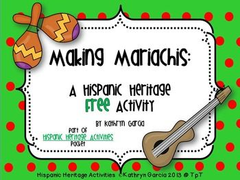 Here is a FREE cut and glue activity for Mexican Independence Day in September or Cinco de Mayo. Your little ones will need to follow written rebus directions to make two little children into mariachis.  Then they can draw, color, cut and glue a picture making themselves into mariachis.This activity is part of a full unit of activities in this packet:Hispanic Heritage Activities for your young learners.Thank you for your visit to my store.