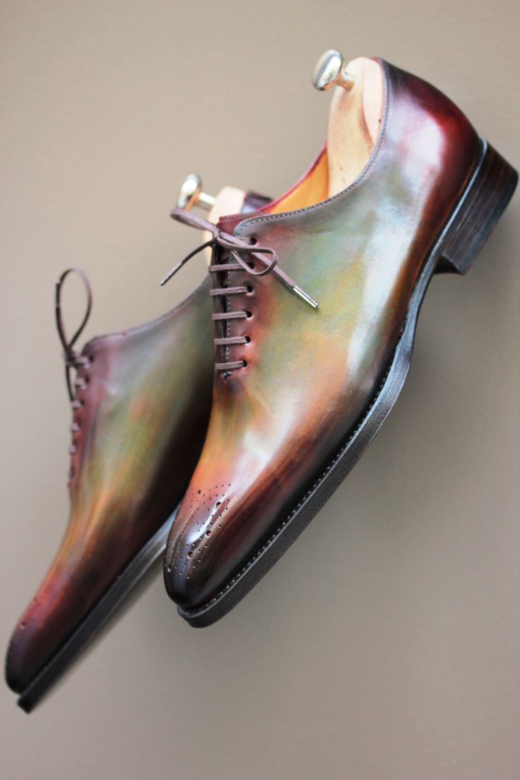 These shoes were probably made in Italy by an Italian explorer who captured the rainbow in a jar and infused it with the leather in these shoes. I like my shoes with a little bit of mythology to them.