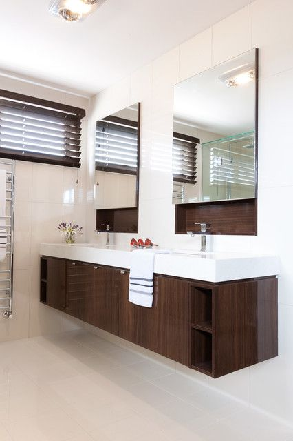 : Elegant Metropol Modern Bathroom Vanities Furniture Made From Wooden Material And White Countertop Ideas
