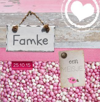Geboortekaartje   Famke origineel, leuk, lief, roze, meisje