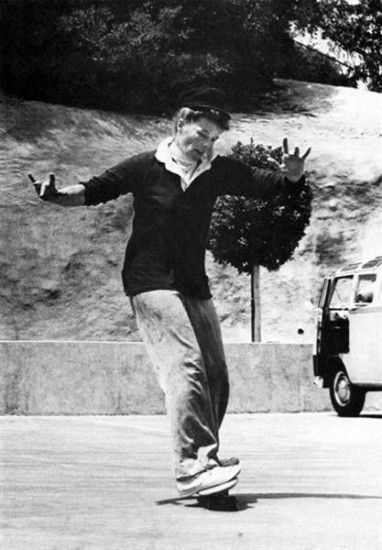 katherine hepburn on a skateboard.