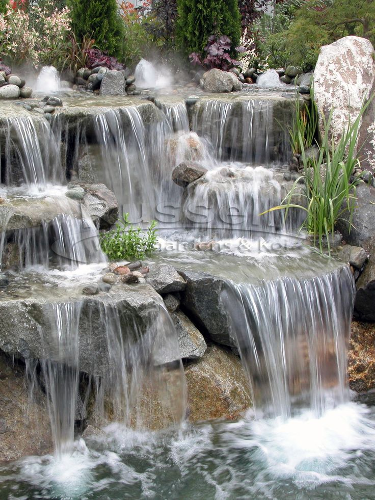 537 best backyard ponds images on pinterest backyard for Waterfall water feature