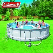"""Coleman Power Steel 16' x 48"""" Frame Pool Set with Filter Pump, Ladder, Cover and Maintenance Kit Image 2 of 9"""