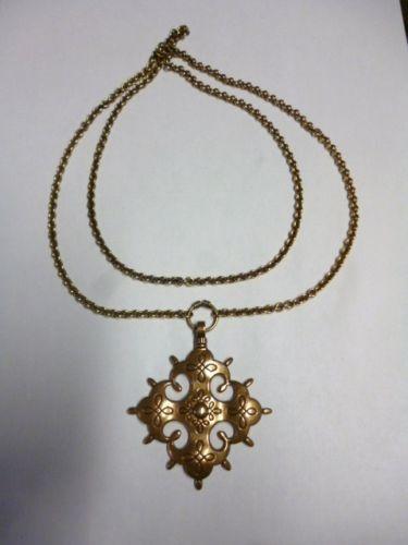 Kalevala Koru Finland Vintage BIG Pendant W Long Chain Bronze Carelian 1800s…