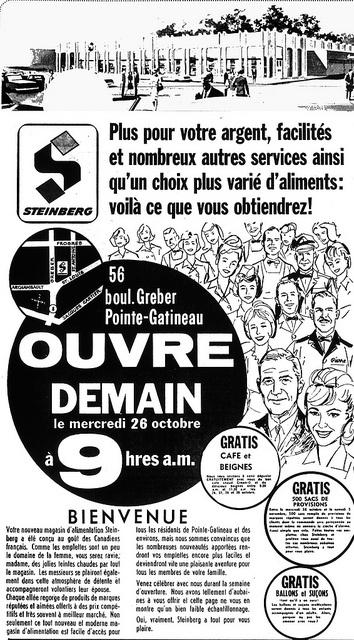 Steinberg Boul.Greber, Pointe-Gatineau, Qc Octobre 1966 by GrocerymaniaSam, via Flickr