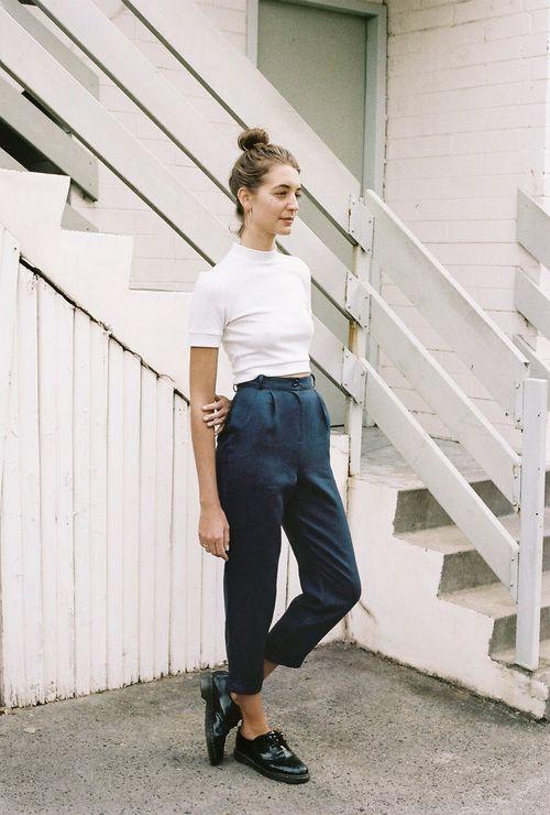 White t-shirt, blue high waist trousers/pants