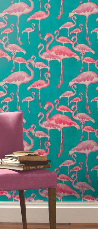 We Love this Flamingo Beach Fuschia Designer Wallpaper - A Shade Wilder | Painted Wallpaper