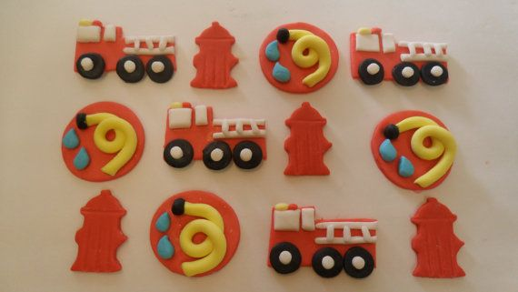 Fondant Firefighter Cupcake Toppers by KraftyKakes on Etsy, $17.00