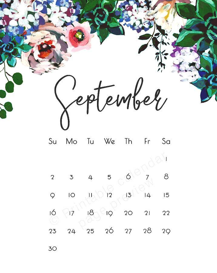 Cute September 2018 Floral Calendar Images Calendar Wallpaper September Wallpaper Calendar Template