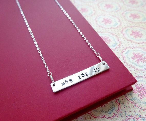 Badge number Police wife necklace Silver bar by BriguysGirls