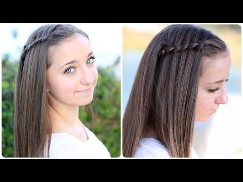 Pancaked 4-Strand Waterfall Braid...easier then a regular waterfall braid!  You will love it! #waterfallbraid #hairstyles #braid #CGH4strandwaterfall