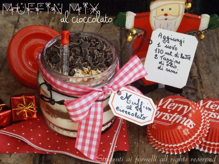 Muffin mix al cioccolato in barattolo per natale