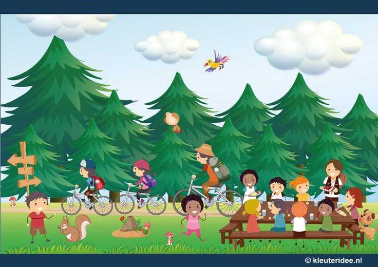Praatplaat voor kleuters, een dag in het bos, kleuteridee.nl ,free printable, groot formaat.