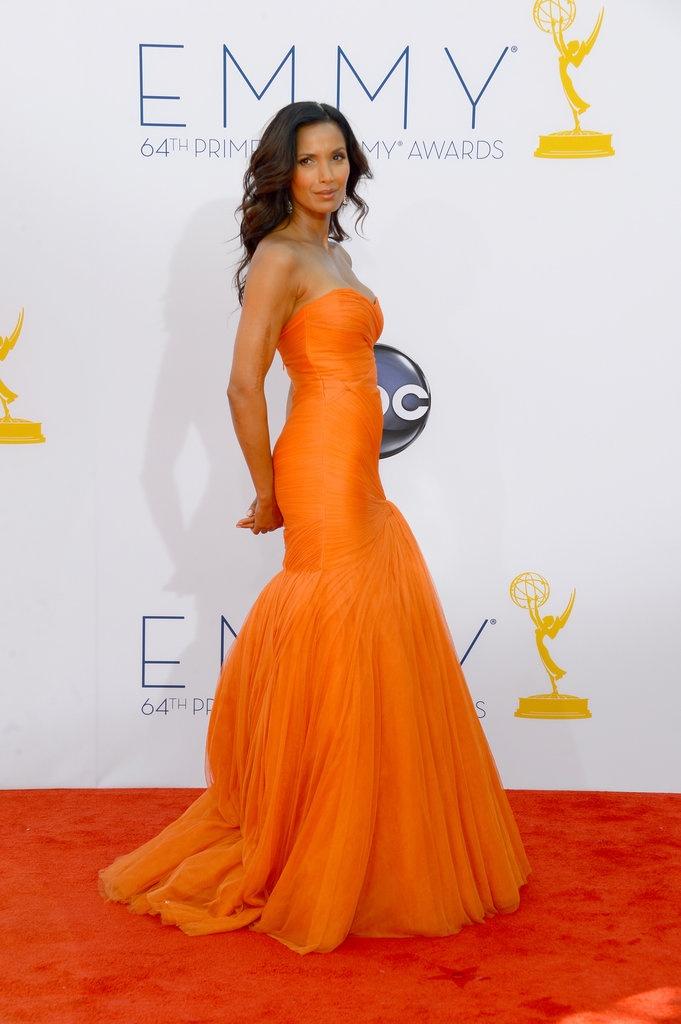 Padma Lakshmi in a bold orange Monique Lhuillier gown at the 2012 EmmysMonique Lhuillier, Orange, 2012 Emmy, Emmy Awards, Gowns, Padma Lakshmi, Fashion Pictures, The Dresses, Red Carpets Dresses