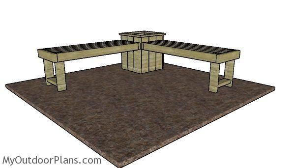 Corner Bench with Planter Box Plans | MyOutdoorPlans | Free Woodworking Plans and Projects, DIY Shed, Wooden Playhouse, Pergola, Bbq